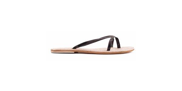 Dámské černé nazouvací sandálky Toscania
