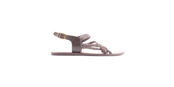 Dámské hnědé copánkové sandálky Toscania