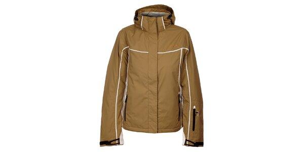 Dámská světle hnědá zimní bunda Hannah s bílými detaily