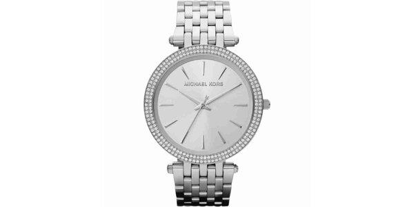 Dámské ocelové kulaté hodinky s krystalky Michael Kors