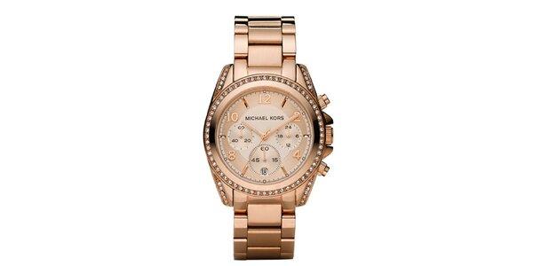 Dámské pozlacené ocelové hodinky Michael Kors s krystalky