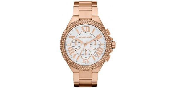 Dámské pozlacené ocelové hodinky s kulatým ciferníkem a krystalky Michael Kors