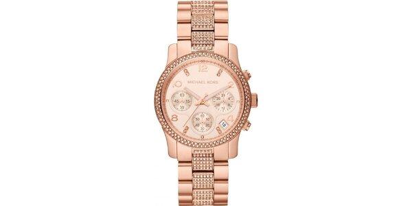 Dámské pozlacené ocelové hodinky Michael Kors a krystalky kolem ciferníku a na…