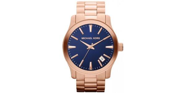 Pozlacené unisex hodinky s tmavým ciferníkem Michael Kors