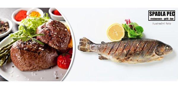 Grilovaný steak či pstruh se zeleninou nebo obojí
