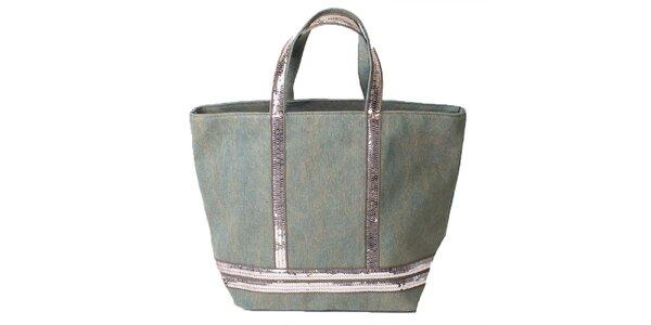 Dámská látková nákupní taška s flitry Pelleteria