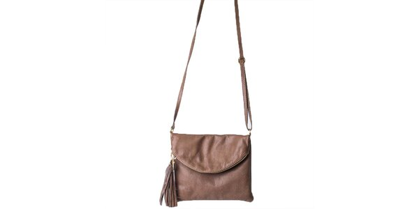 Dámská hnědá taška s klopou Pelleteria