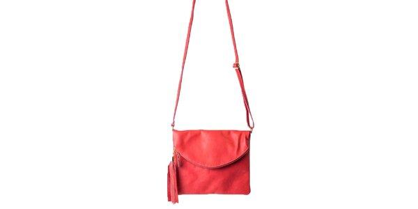Dámská červená taška s klopou Pelleteria