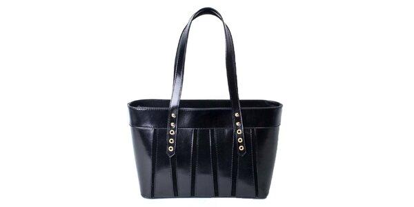 Dámská černá kožená kabelka Pelleteria