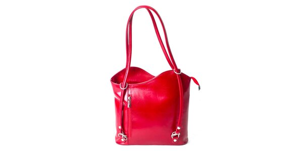 Dámská kožená kabelka v červené barvě Pelleteria