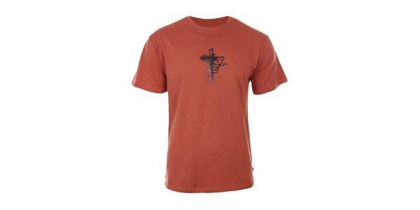 Pánské oranžové tričko s potiskem Respiro