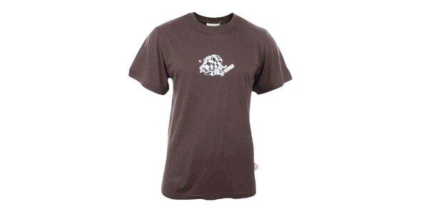 Pánské hnědé tričko s hadím potiskem Respiro