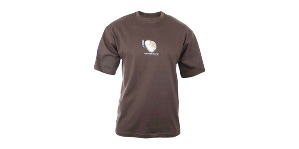 Pánské hnědé tričko s potiskem na hrudi Respiro