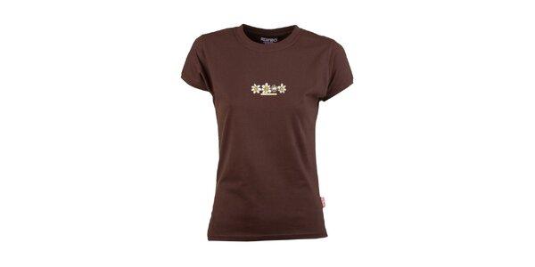 Dámské hnědé tričko s květinami Respiro