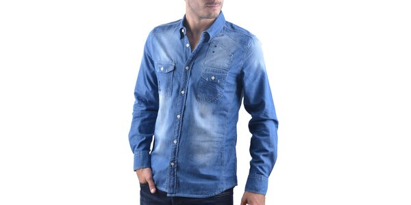 Pánská modrá šisovaná džínová košile RNT23
