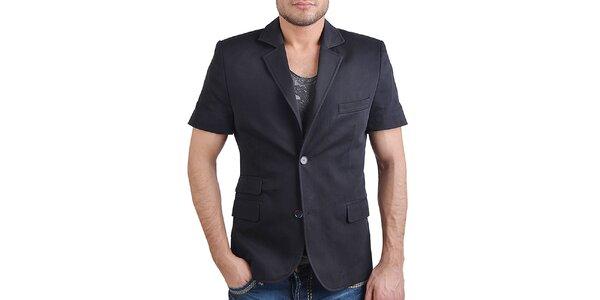 Pánské černé sako s krátkým rukávem RNT23