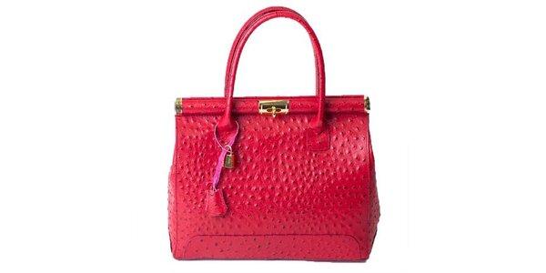Dámská sytě růžová pštrosí kabelka Pelleteria