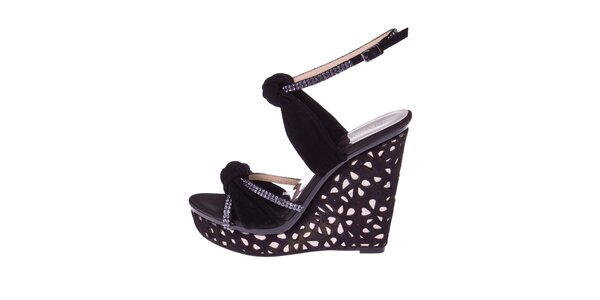 Dámské černé sandály s bílými krystalky El Dantes