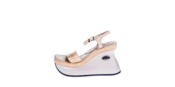 Dámské krémovo-béžové sandály na vysokém klínu El Dantes