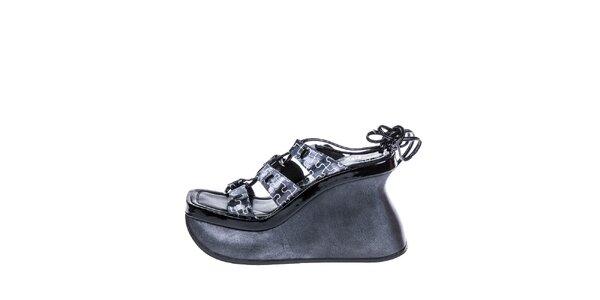 Dámské černé sandály na vysokém klínu El Dantes