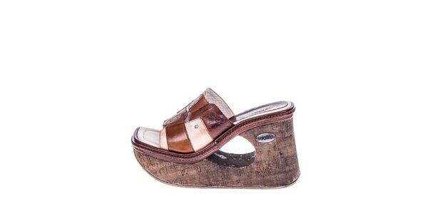 Dámské hnědé sandály s klínkem El Dantes