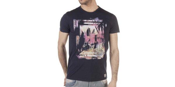 Pánské černé tričko s pastelovým potiskem SixValves