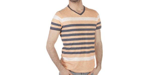 Pánské béžovo-šedé pruhované tričko SixValves