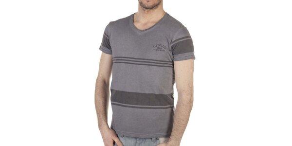 Pánské šedé pruhované tričko SixValves