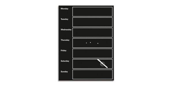 Poznámková tabule - Můj týden - černá 60x80 cm