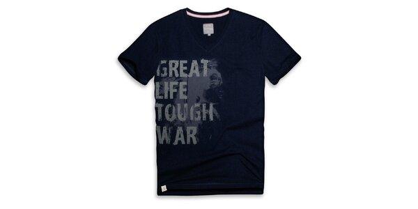 Pánské tmavě modré tričko s nápisem Paul Stragas