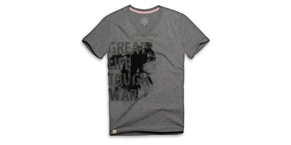 Pánské tmavě šedé tričko s nápisem Paul Stragas