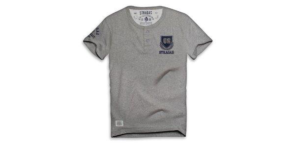 Pánské šedé triko s výšivkou Paul Stragas