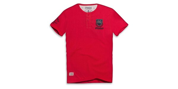 Pánské červené triko s výšivkou Paul Stragas