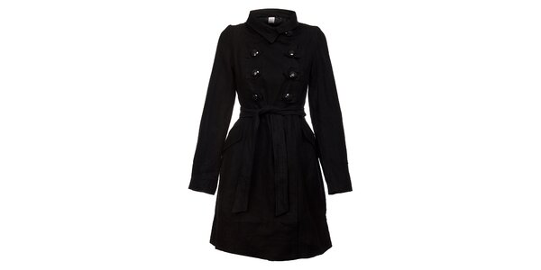 Dámský černý kabát Pussy Deluxe