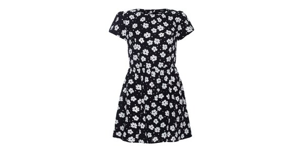Dámské černé šaty s bílými kytičkami Iska