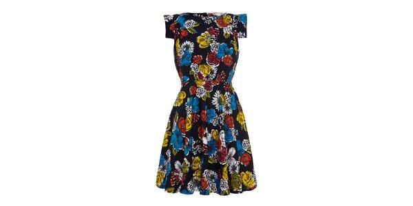 Dámské černé šaty s barevnými květinami Iska