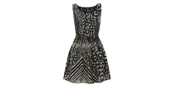 Dámské černé kontrastně potištěné šaty Iska