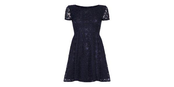 Dámské tmavě modré krajkové šaty Iska