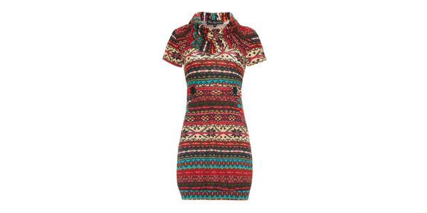 Dámské pestrobarevné šaty s krátkým rukávem Iska