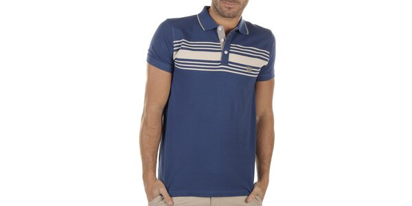 Pánské modré polo triko s proužky Bendorff