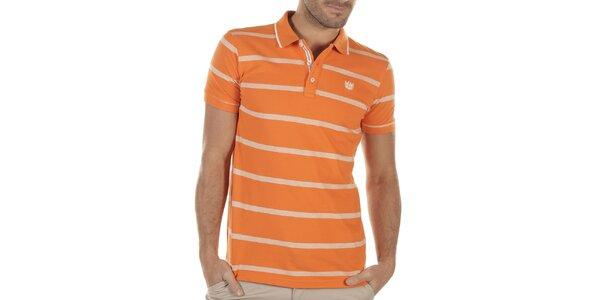 Pánské oranžové polo triko s proužky Bendorff
