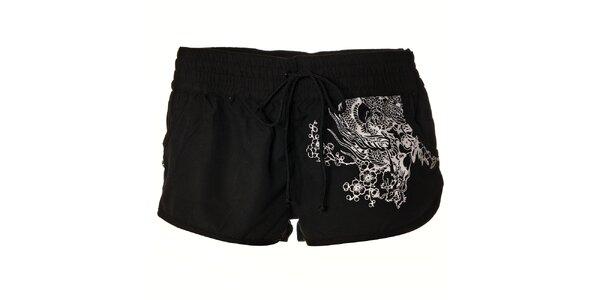 Dámské černé plátěné šortky Pussy Deluxe s bílým potiskem