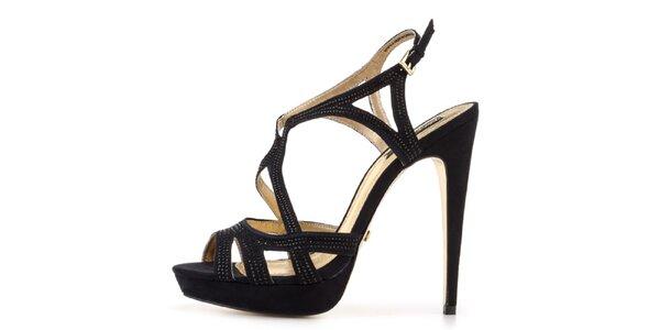 Dámské černé sandálky na vysokém podpatku Blink