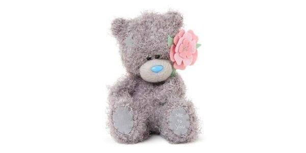 MTY Medvídek 12,5cm s květinou