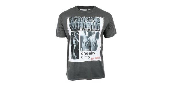 Pánské tmavě šedé tričko s lechtivým potiskem Not Guilty Rich Boy