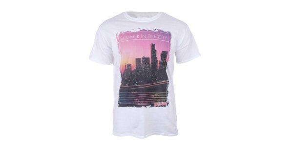Pánské bílé tričko s krátkým rukávem a s mrakodrapy na hrudi Not Guilty Rich Boy