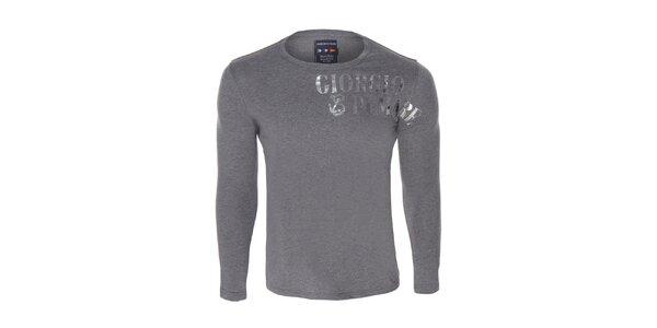 Pánské šedivé triko s dlouhým rukávem a potiskem Giorgio di Mare