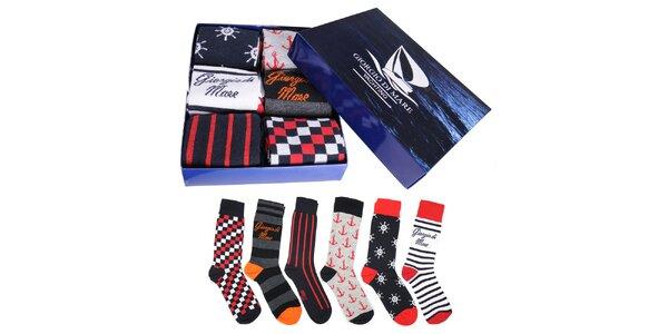Sada šesti pánských barevných ponožek Giorgio di Mare