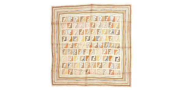 Menší čtvercový šátek Fendi v béžových barvách