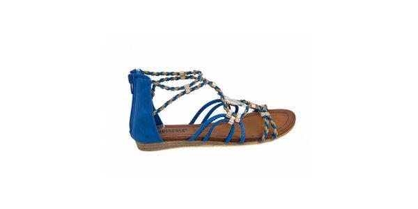 Dámské modré páskové sandálky Vanessa